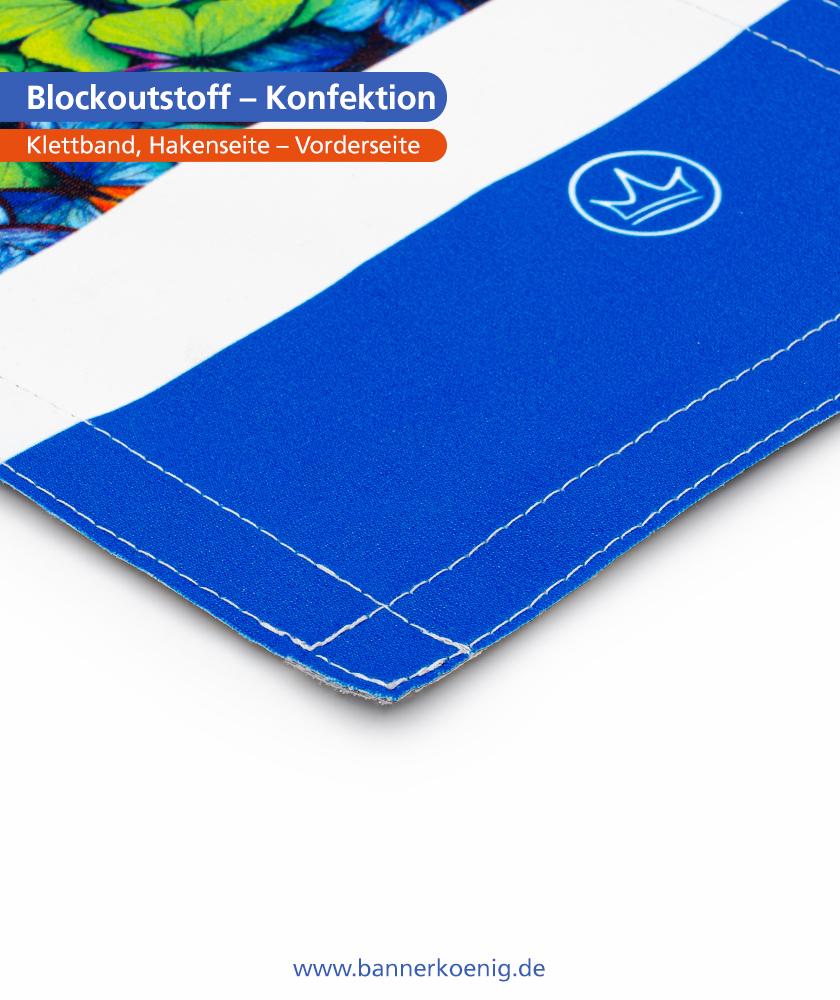 Blockoutstoff – Konfektion Klettband, Hakenseite, Vorderseite