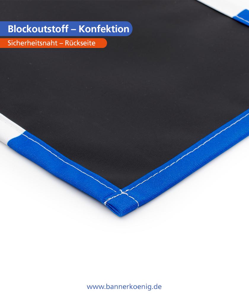Blockoutstoff – Konfektion Sicherheitsnaht, Rückseite