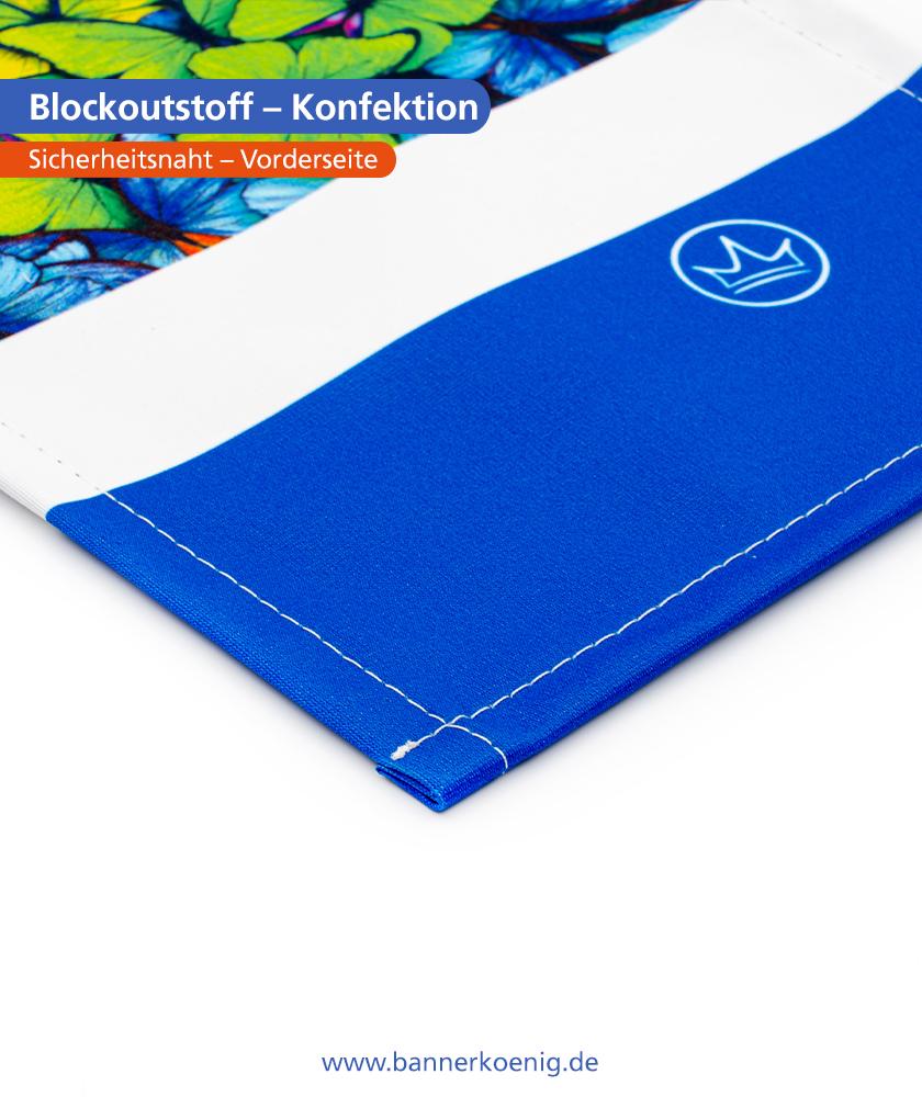 Blockoutstoff – Konfektion Sicherheitsnaht, Vorderseite